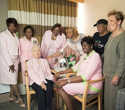 Alpha Kappa Alpha Sorority, Inc.'s International President Dorothy Buckhanan Wilson with Katherine Johnson and other members of Alpha Kappa Alpha Sorority, Inc./photo credit Instagram
