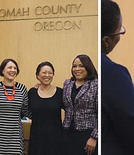 The New Year started with Multnomah County being led by a County Commission in which all the elected members are from minority groups for the first time ever.  Pictured (from left) are County Chair Deborah Kafoury and Commissioners Sharon Meieran, Jessica Vega Pederson, Lori Stegmann and Loretta Smith. Picture at right is Lori Stegmann taking the oath of office from Multnomah County Circuit Court Judge Adrienne Nelson.