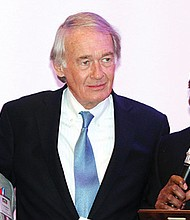 The 18th Annual Haitian Independence Day Gala, organized by the Haitian-Americans United, Inc. (H.A.U.), was held on Jan. 7 at Lombardo's in Randolph. U.S. Sen. Edward J. Markey (center) was honored at the gala for his committed leadership in helping people impacted by the cholera epidemic and Hurricane Matthew in Haiti. Markey received the award from H.A.U. Chairman Dr. Nesly Metayer and the Vice-Chair Pastor Dieufort Fleurissaint.