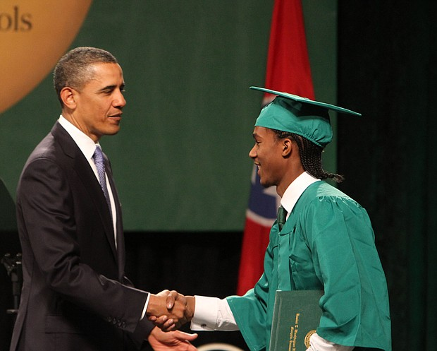 President Barack Obama was welcomed to the stage after being introduced by 2011 BTW graduate Christopher Dean. Dean went on to work in the Obama White House.