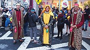 Teens from the Hyde Square Task Force lead a parranda — a musical parade featuring traditional Puerto Rican Christmas songs.