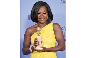 """Actors shine at Sunday's Golden Globe Awards in Beverly Hills, Calif. From left, Viola Davis wins Best Actress for the movie """"Fences,"""""""