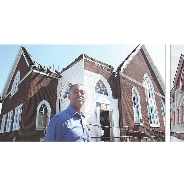 Creating a church home // Pastor Jeffrey A. Lee Sr., left, is on a mission to turn the once roofless building at 2700 Q St. in Church Hill into a home for the church he founded, Spirit of God Ministries International. A full-time Pepsi salesman, Pastor Lee, 52, and his 20-member congregation are making progress, as the before and after photos show. The left photo was taken in September 2012, when the small congregation purchased the building from Greater St. Beulah Holiness Church for about $50,000. Since then, the congregation has spent another $50,000 transforming the exterior. The photo at right was taken Tuesday. Pastor Lee said the church's next step is to redo the interior so it can be used for worship and other activities. Until that work is done, and there is no firm timetable as yet, he and his congregation will continue to hold services at the Our House community center in Mosby Court.