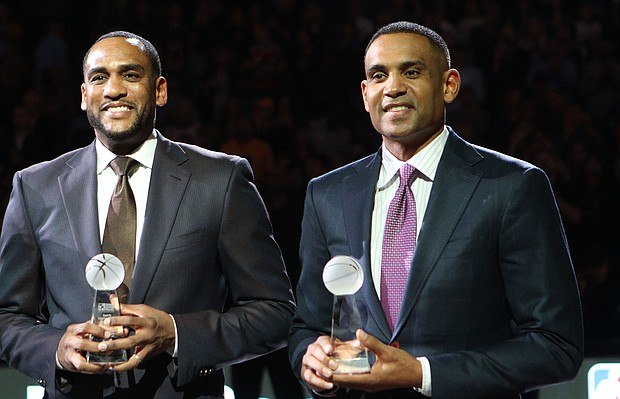 Former NBA stars Steve Smith and Grant Hill were among the honorees selected for the Earl Lloyd Sports Legacy Award, presented by the Memphis Grizzlies and the National Civil Rights Museum. Not pictured is former WNBA star Lisa Leslie, who missed MLK weekend activities because of a family emergency.