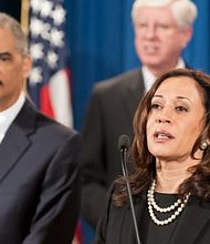 SENKAMALAHARRIS Some Democrats wonder if Kamala Harris (D-Calif.) has what it takes to be the next Obama. This photo was taken during a press conference at the U.S. Justice Department on Feb. 5, 2013. (Lonnie Tague/Justice Department)