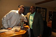 The Clean up Man of Comedy McClinton Neal and Dr. Anthony L. Dockery sharing a laugh while supporting Neal's products.