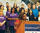 Boston Medical Center health worker Latia Holmes told attendees at the State House protest that institutions such as BMC that provide care regardless of insurance status will struggle to meet demand if the ACA is repealed.