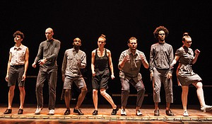 Michelle Dorrance (center) and members of her company, Dorrance Dance.