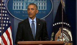 President Barack Obama takes reporters' questions for a final time January 18th, 2017 from the White House briefing room, his last official event before Donald Trump replaces him in two days.