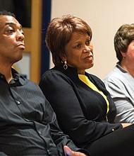 "Wyatt Jackson, Rev. Liz Walker and Program Director Colleen Sharka listen to a testimony at ""CAN WE TALK?"""