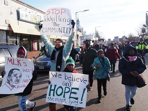 Demonstrators gathered at the Second Church of Dorchester in Codman Square to rally against police brutality before taking to the streets.