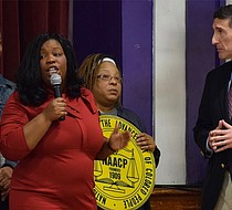 Haywood County Commissioner Sheronda Rogers Green was determined to let Rep. David Kustoff know of her concern about income disparities and healthcare. (Photo: Karanja A. Ajanaku)