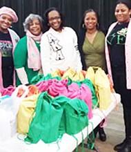 Corene Myers, Chairman Childhood Hunger Initiative; members Jeanette Churchill, Brenda Johnson and Monica King; Judith Britton, Chairman, Million Backpack Committee, Au'Sha Washington, Vice President Program; and member Martina Washington