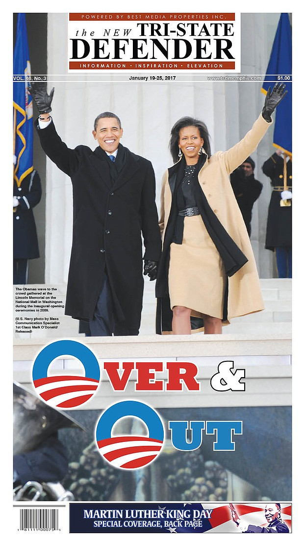 The cover of this week's New Tri-State Defender bids the Obamas farewell.