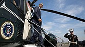 President Obama disembarks from Marine One at the Brackett Field landing zone in San Dimas, Calif., in October 2014.