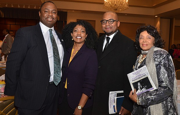 The Rev. Willie E.B. Boyd Jr. (second from right) keynoted the 26th Annual Prayer Breakfast hosted by The LeMoyne-Owen College Alumni Association-Memphis Chapter. Also pictured (l-r): State Rep. Joe Towns Jr. (District 84), LOC President Dr. Andrea Lewis-Miller and Yvonne Acey, associate director of Africa in April Cultural Awareness Festival, Inc.  (Photo: Tyrone P. Easley)