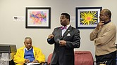 """Use NAACP photo with this cutline: Delegate C.E. """"Cliff"""" Hayes Jr., center, speaks to L.J. McCoy Jr., left, and Jesse Frierson, members of the Virginia State Conference of the NAACP, last Tuesday during the civil rights organization's annual Lobby Day at the Virginia General Assembly."""