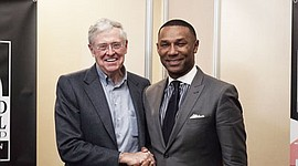 Charles G. Koch, chairman of the board and CEO of Koch Industries Inc., with Johnny C. Taylor Jr., president/CEO of the Thurgood Marshall College Fund (TMCF) at the TMCF 2016 Leadership Institute. Thurgood Marshall College Fund launched the Center for Advancing Opportunity that will support HBCU researchers and work with Gallup to understand and inform pressing issues in fragile communities with the support of a $26 million gift from the Charles Koch Foundation and Koch Industries