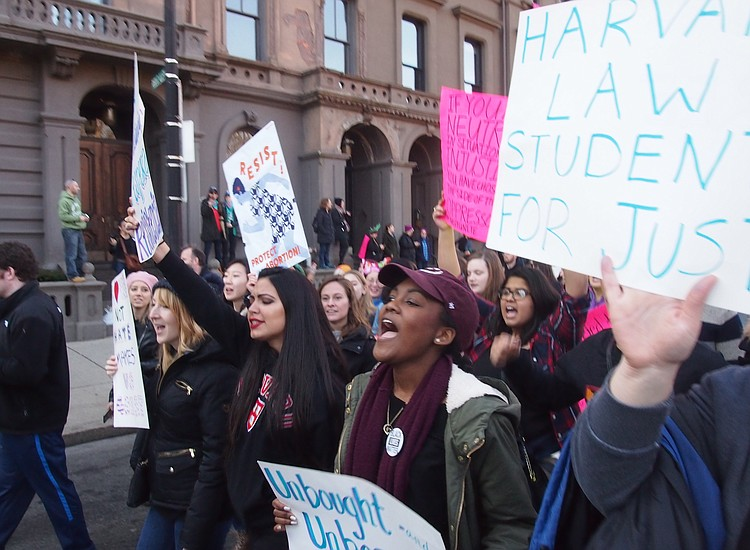 Thousands Arrive On Boston Common For Women's March