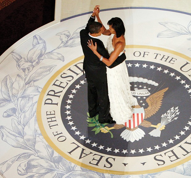 President Obama dances with his wife, First Lady Michelle Obama, at the Commander-in-Chief's Inaugural Ball in Washington.