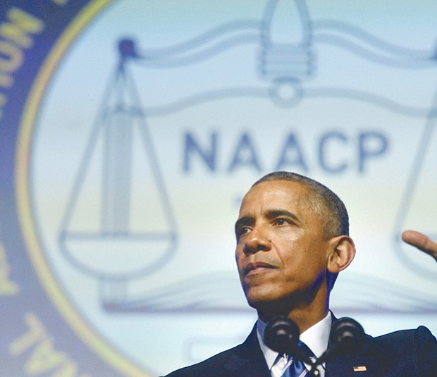 President Obama speaks at the national NAACP 106th Annual Conference in Philadelphia in July 2015.