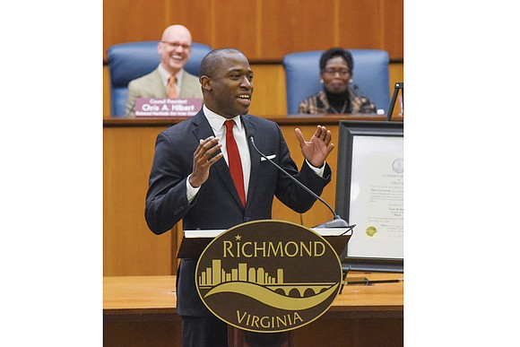 Congratulations and handshakes were the hallmarks of Richmond Mayor Levar M. Stoney's ceremonial public installation into the city's chief executive ...