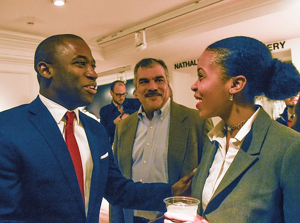 Mayor Levar M. Stoney talks with well-wishers Taquara Rashida Felix and Rob Jones during the free public reception last Saturday at The Valentine in Downtown.