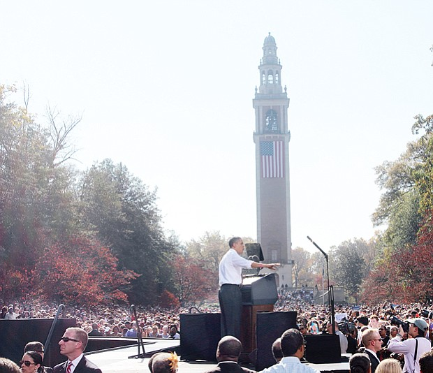 Above, President Obama campaigning for re-election at the Carillon in Richmond's Byrd Park in October 2012.