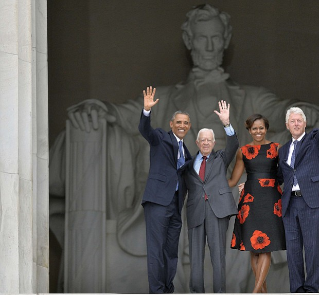 President Obama, former President Jimmy Carter, First Lady Michelle Obama and former President Bill Clinton at the Lincoln Memorial in August 2013 for the 50th anniversary of Dr. Martin Luther King Jr.'s historic March on Washington for Jobs and Freedom.