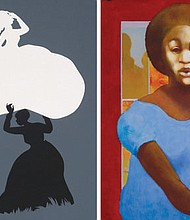 From left to right: 'The Emancipation Approximation' by Kara Walker, part of a collection of African American Art coming to the Portland Art Museum. 'Blue Dress,' a 1985 painting by Paul Keene and one of the collections of African American artists to be featured in a special Portland Art Museum exhibit.