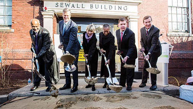 From left to right: Flash Wiley, Dimock Community Foundation board chair; Governor Charlie Baker; Secretary of Health and Human Services Marylou Sudders; Myechia Minter-Jordan, M.D., president and CEO of The Dimock Center; Mayor Martin J. Walsh; and Jim Healey, president and trustee of the Yawkey Foundations break ground on Tuesday, Jan. 17 on the Dr. Lucy Sewall Center for Acute Treatment Services, a state-of-the-art renovation project to restore The Dimock Center's aging detoxification facility and strengthen its comprehensive substance use disorder treatment services. The milestone event is the result of a successful $16 million capital campaign Building the Road to Recovery. The Dimock Center houses one of only three inpatient detox facilities in Boston and one of 30 in the state, offering addiction recovery services for men and women throughout the commonwealth. The renovation will increase its inpatient acute treatment beds from 30 to 40, reaching an additional 1,000 people annually for a total of 4,000 patients served each year.