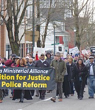 Thousands of supporters join the Albina Ministerial Alliance's Coalition for Justice and Police Reform on Saturday to march up Northeast Martin Luther King Boulevard from the MLK statute at the Oregon Convention Center to Maranatha Church, two miles north.