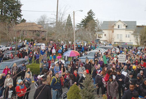 "When it became clear that Maranatha Church in northeast Portland wasn't big enough to seat the thousands of people who attended Saturday's march ""Advancing Justice and Equality for All Through the Strength of Love,"" the final chapter of the day's event was moved to the lawn outside the northeast Portland church."
