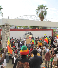 Rasta gathering in Mandela Park in Kingston