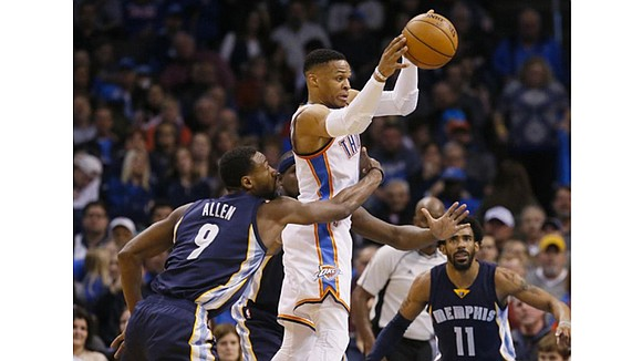 For three quarters, Russell Westbrook did most of his damage passing and rebounding. Once his shot started falling, the Memphis ...