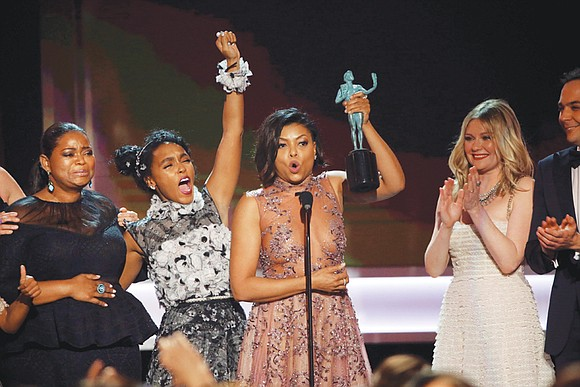 "Free Press wire reports HOLLYWOOD, Calif. The cast of ""Hidden Figures"" rocketed to the Screen Actors Guild top award at ..."