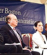 Senators William Brownsberger, Stanley Rosenberg and Sonia Chang-Diaz, state Rep. Russell Holmes and Bethel AME Pastor Ray Hammond during a meeting of the Greater Boston Interfaith Organization at Hammond's Jamaica Plain church.