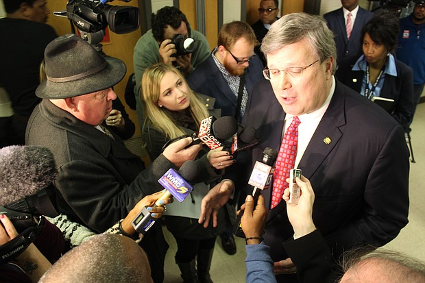 Memphis Mayor Jim Strickland spoke to reporters after his State of the City address at Impact Baptist Church in Frayser.