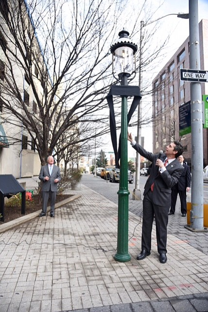 Baltimore Gas and Electric Company (BGE) rededicated the first gas streetlamp