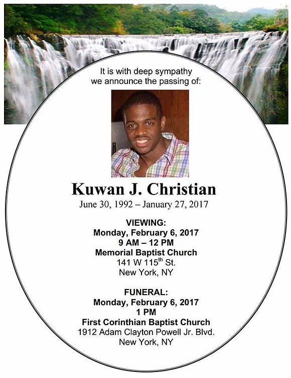 Family and friends attended the services for Kuwan J. Christian Monday, Feb. 6, 2017, at the First Corinthian Baptist Church ...