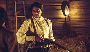 "Aisha Hinds stars as Harriet Tubman in ""Underground."""