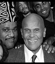 "A portraits of Harry Belafonte with Boston singer Larry Watson is part of the ""Portraits of Purpose"" exhibit."
