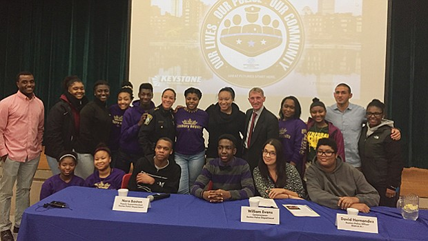 Yawkey Boys and Girls Club of Roxbury hosted an event through its Teen Leadership Program, Keystone, with special guests Boston Police Commissioner William Evans, Deputy Nora Baston and Officer David Hernandez.