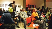 Building trades workers packed a meeting of the Roxbury Strategic Master Plan Oversight Committee to push for speedy approval of the 1-million-square-foot Tremont Crossing project.