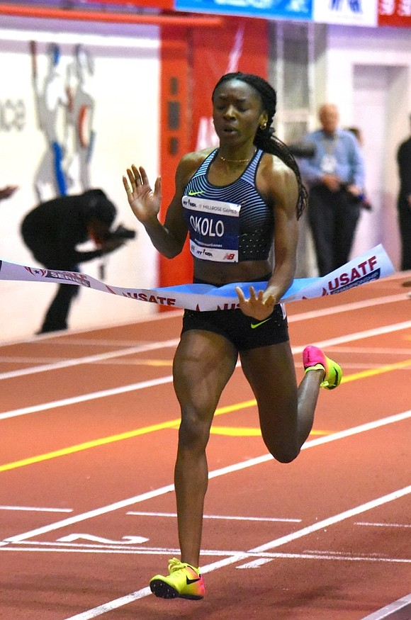 """My plan was to run a fast 300 and then finish the last lap strong,"" said Olympian Courtney Okolo, who ..."