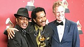 Bobby Rush (center) with Vasti Jackson (left) have been collaborating for years and that teamwork yielded a 2017 Grammy Award. They are joined by Rush's manager, Scott Billington. (Courtesy photo)