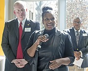 Dr. DeAnna McClendon, director of Early Childhood Services for Shelby County Schools, speaks during the Grand Opening of the Porter-Leath Early Childhood Academy. Also pictured (l-r): Sean Lee, Porter-Leath president, and Dennis Fleming, Porter-Leath VP of Social Services. (Courtesy photo)