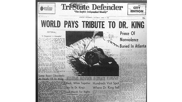 The April 17, 1968 issue of The Tri-State Defender featured coverage of the funeral of Dr. Martin Luther King Jr., who had been murdered less than two weeks earlier.