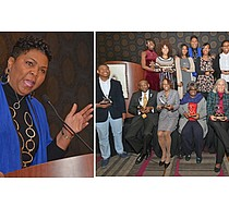 Left: The Rev. Traci deVon Blackmon views the church as a sacred launching pad of community engagement and change.   Right: The Dr. Henry Logan Starks Institute on Faith, Race & Social Justice Honors Program yielded this moment for honorees.  (Photos: Tyrone P. Easley)