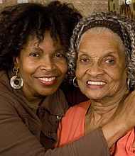 Black American adult with elderly mother